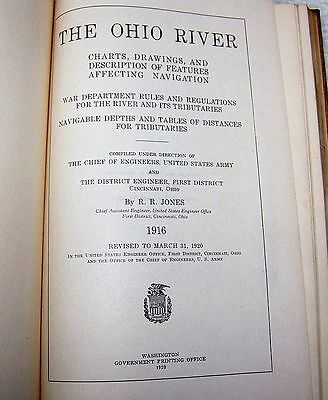 1920 Ohio River Army Corps Engineers Navigation Charts Book War Department