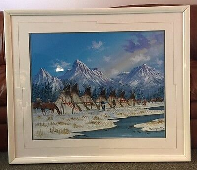Huge Signed Original 1988 Navajo Indian Framed Canvas Painting By Johnny Yazzie