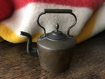 Antique Minature Copper And Brass Kettle