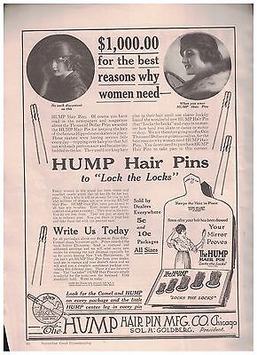 1916 Hump Hair Pins To Lock the Locks from The Hump Hair Pin Co of Chicago Ad