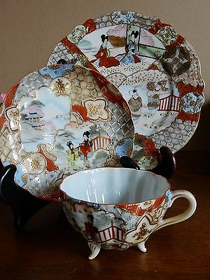 Antique Meiji Signed Satsuma Fab Colorful Cup & Saucer Plate Trio Japanese