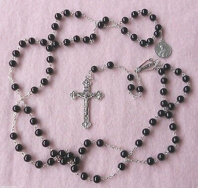 FRANCISCAN CROWN ROSARY Handmade Contemporary Black Onyx Semi Precious Stone