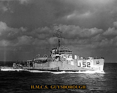 Royal Canadian Navy Minesweeper Hmcs Guysborough J52 Photo With Bonus Stat Sheet