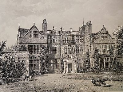 1880 Antique Engraved Print - Castle Bromwich Hall, Warwickshire - Manor House