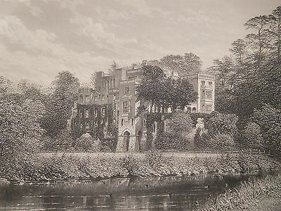 1880 Antique Engraved Print - Guy's Cliff, Warwickshire - Manor House
