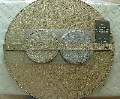 New Next 8 Pack Reversible Glitter Champagne Gold / Silver Place Mats & Coasters