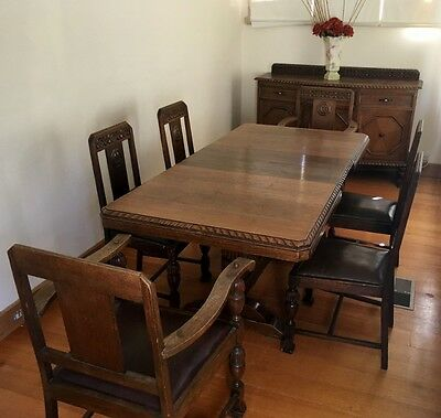 Dining Suite - Jacobean - 2 Carvers, 4 Chairs, Expanding Table & Sideboard