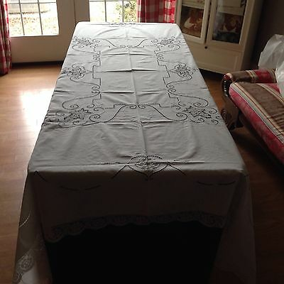 Antique Tablecloth With Cut work And Lace inserts 70 X 84