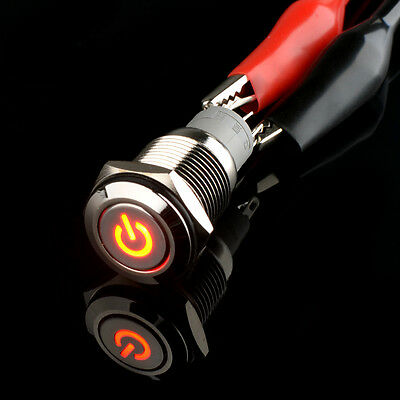 16mm Red Power LED Button Metal Switch Push ON/OFF Car Boat Angel Eye 12V