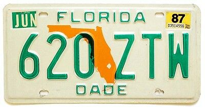 Florida 1987 License Plate, 620-ZTW, Miami-Dade County, High Quality, Natural