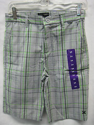 Hurley Summer Shorts Gray And Lime Green Stripped Size 14 NWT
