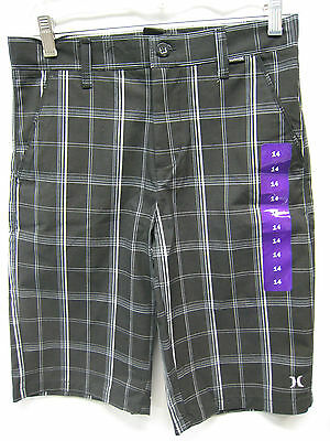 Hurley Microphone for Youth Shorts Black White Stipped NWT