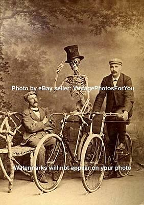 Antique/Vintage/Old/Weird/Strange/Creepy/Skeleton on Bike/Bicycle Photo/Picture