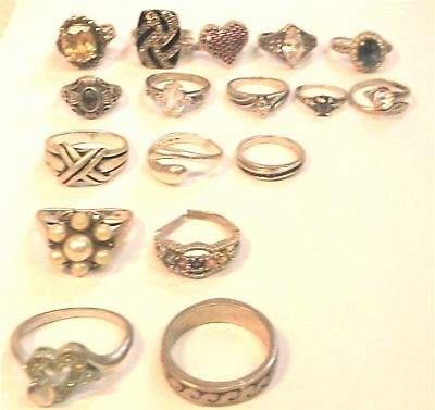 LOT of 17 Vintage marked 925 Sterling Silver Rings most with stones REDUCED!
