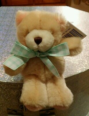 Forever Friends Mini Plush Bear With Green Gingham Bow, With Tags
