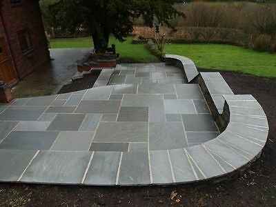 Storm Grey Premium Indian Sandstone Mixed (19.5m2) Patio Paving Slabs Stone