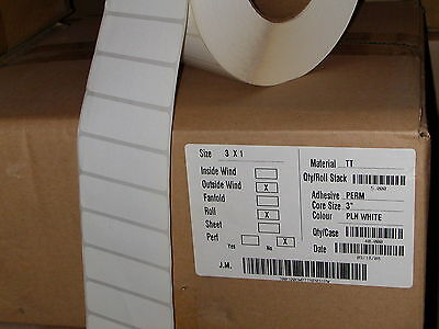 "LABEL  3x1"" thermal transfer adhesive (50,000) bulk"
