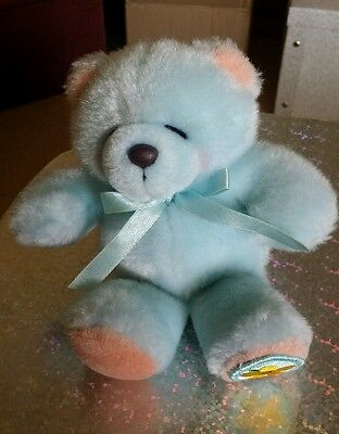 Forever Friends 'More than Words' Small Blue Plush Teddy Bear with Satin Bow