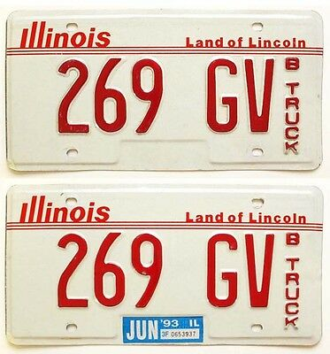 Illinois 1993 Truck License Plate Pair, 269 GV, Low Number, Nice Quality