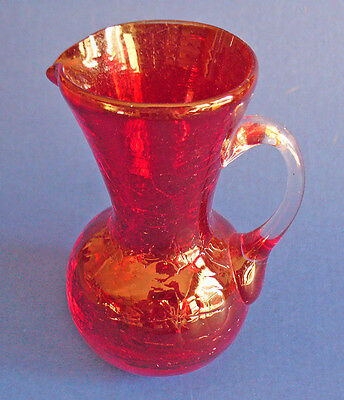 Pilgrim CRACKLE GLASS Miniature PITCHER Deep RUBY RED Narrow Vintage 1949-1969