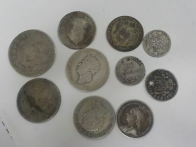 lot of 10 vintage 1800's silver foreign coins