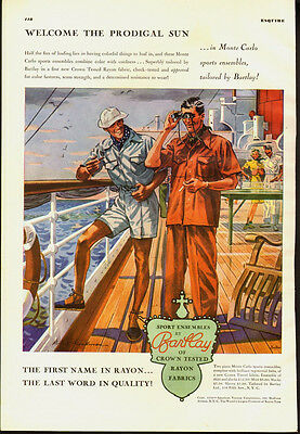 1939 vintage Ad, Sports clothes by BARTLAY, Rayon fabric shipboard scene (021914