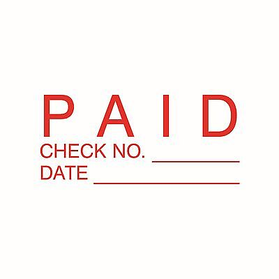PAID Check no.  (RED) Self Inking Stock stamp  SAME DAY SHIPPING