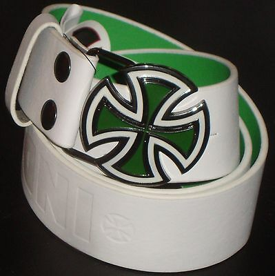 INDEPENDENT TRUCK CO' Leather Skateboard Belt - Paint Bar Cross - White/Green