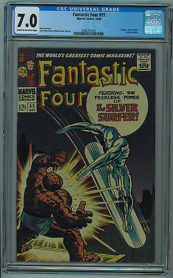 Fantastic Four #55 Cgc 7.0 Jack Kirby Art & Cover Cream To Off-White Pages 1966