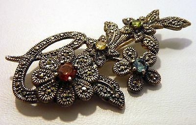 Sterling Silver 925 Flower Pin Brooch Marcasite Jeweled Marked CAA 925