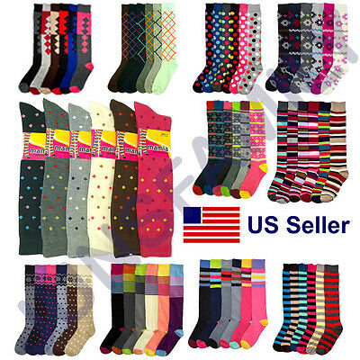 Women 6 12 Pairs Ladies Girls Knee high Multi Pattern Fashion School Socks 9-11