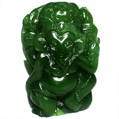 488.05ct Peaceful Lord Ganesh carved in Green Nephrite