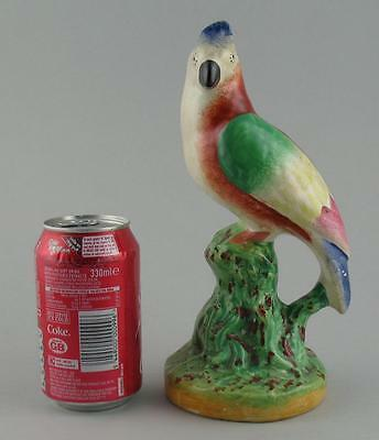Antique English Late Victorian Staffordshire Pottery Parrot Figure Figurine