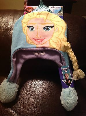 NEW Disney FROZEN Elsa Girls Winter Flipeez Squeeze Hat with Braid Set One Size