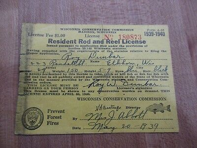 Vintage 1939-40 Wisconsin Resident Rod & Reel License fishing
