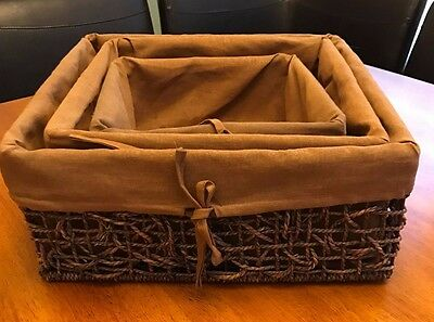 Set of 3 Brown Rectangular Wicker Baskets with Liner ~ Home Decor - Storage