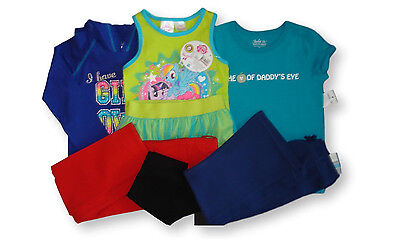 7 pcs Lot Girl's Size 5 New Summer Clothes Pants T-shirts Hoodie Skirt