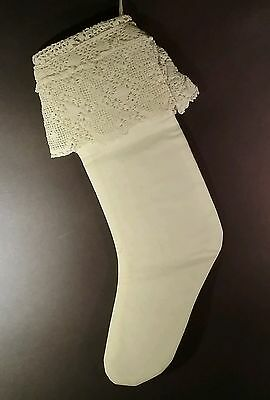 Stocking made from antique victorian pillowcase