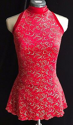 RED AND GOLD SPARKLE Competition Ice Skating Dress GIRLS LARGE 12 - 14