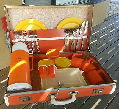 Thermos Vintage Picnic Set In  Orange Leather Case With Some Access. Retro Style