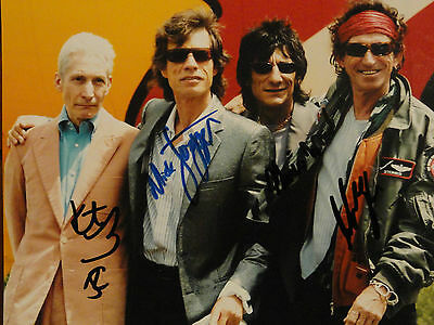 ROLLING STONES 8x10 original autograph photograph, signed by all 4 members, COA
