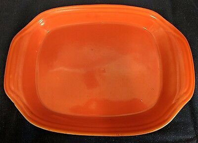 """1940s Bauer Pottery Ring Ware 12"""" Orange Serving Platter or Tray"""