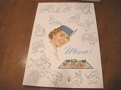 Vintage Pan Am  American Clipper Airplane Menu Stewardess Graphics Cover French