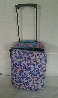 "Purple Hearts Child's Suitcase w/Ext. Handle & Wheels Travel Carry on 12""x16x8"""