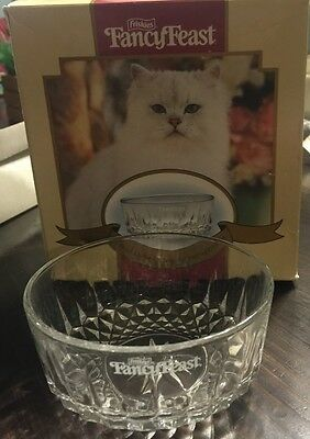 Friskies Fancy Feast Glass Etched Cat Food Dish Bowl