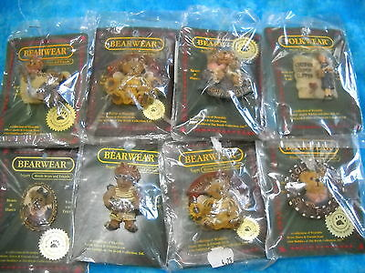BOYDS BEARS 8pc SET-BEARWEAR COLLECTION PINS 112