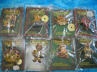 BOYDS BEARS 8pc SET-BEARWEAR COLLECTION PINS #116