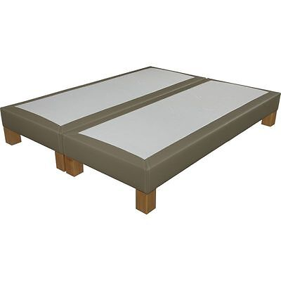 Sommier tapissier + pieds 80+80x200 S20 simili taupe