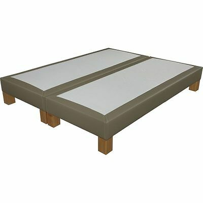 Sommier tapissier + pieds 90+90x200 S20 simili taupe