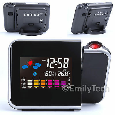 Digital  LCD Projector Temperature Alarm Clock LED Weather Station Thermometer